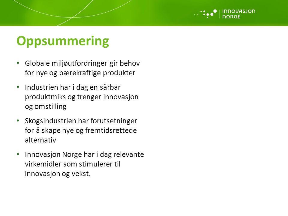 Globale miljøutfordringer gir behov for nye og bærekraftige produkter Industrien har i dag en sårbar produktmiks og trenger innovasjon og omstilling Skogsindustrien har forutsetninger for å skape nye og fremtidsrettede alternativ Innovasjon Norge har i dag relevante virkemidler som stimulerer til innovasjon og vekst.