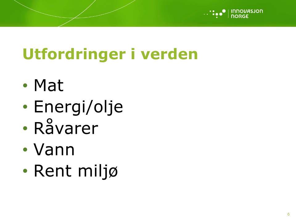 Utfordringer i verden Mat Energi/olje Råvarer Vann Rent miljø 6
