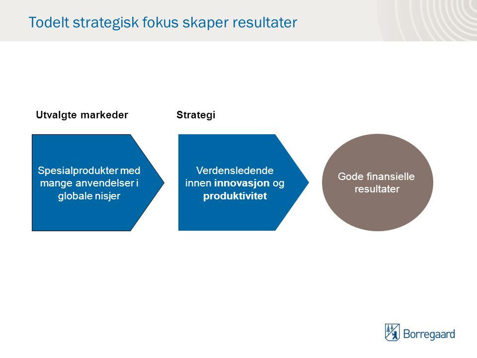 Todelt strategisk fokus skaper resultater Spesialprodukter med mange anvendelser i globale nisjer Verdensledende innen innovasjon og produktivitet Gode finansielle resultater Utvalgte markederStrategi