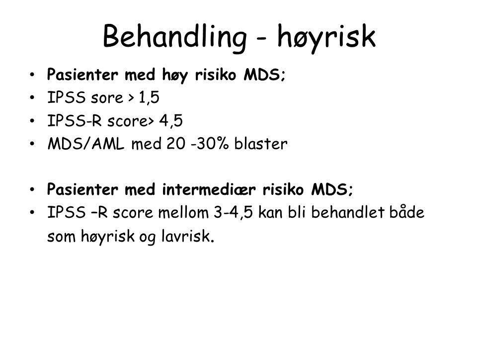Behandling - høyrisk Pasienter med høy risiko MDS; IPSS sore > 1,5 IPSS-R score> 4,5 MDS/AML med 20 -30% blaster Pasienter med intermediær risiko MDS; IPSS –R score mellom 3-4,5 kan bli behandlet både som høyrisk og lavrisk.