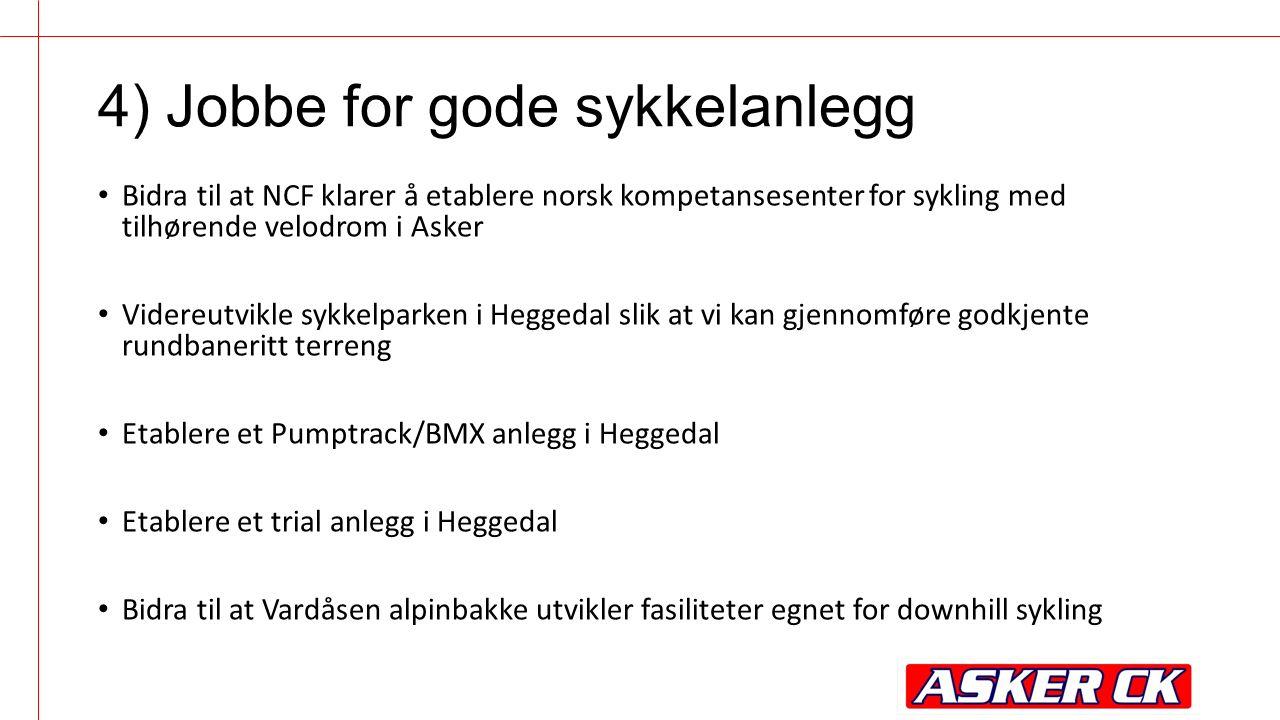 Bidra til at NCF klarer å etablere norsk kompetansesenter for sykling med tilhørende velodrom i Asker Videreutvikle sykkelparken i Heggedal slik at vi