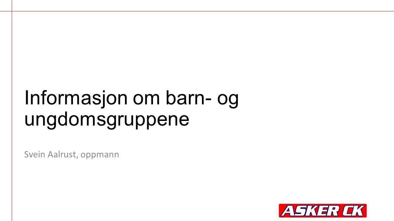 Informasjon om barn- og ungdomsgruppene Svein Aalrust, oppmann