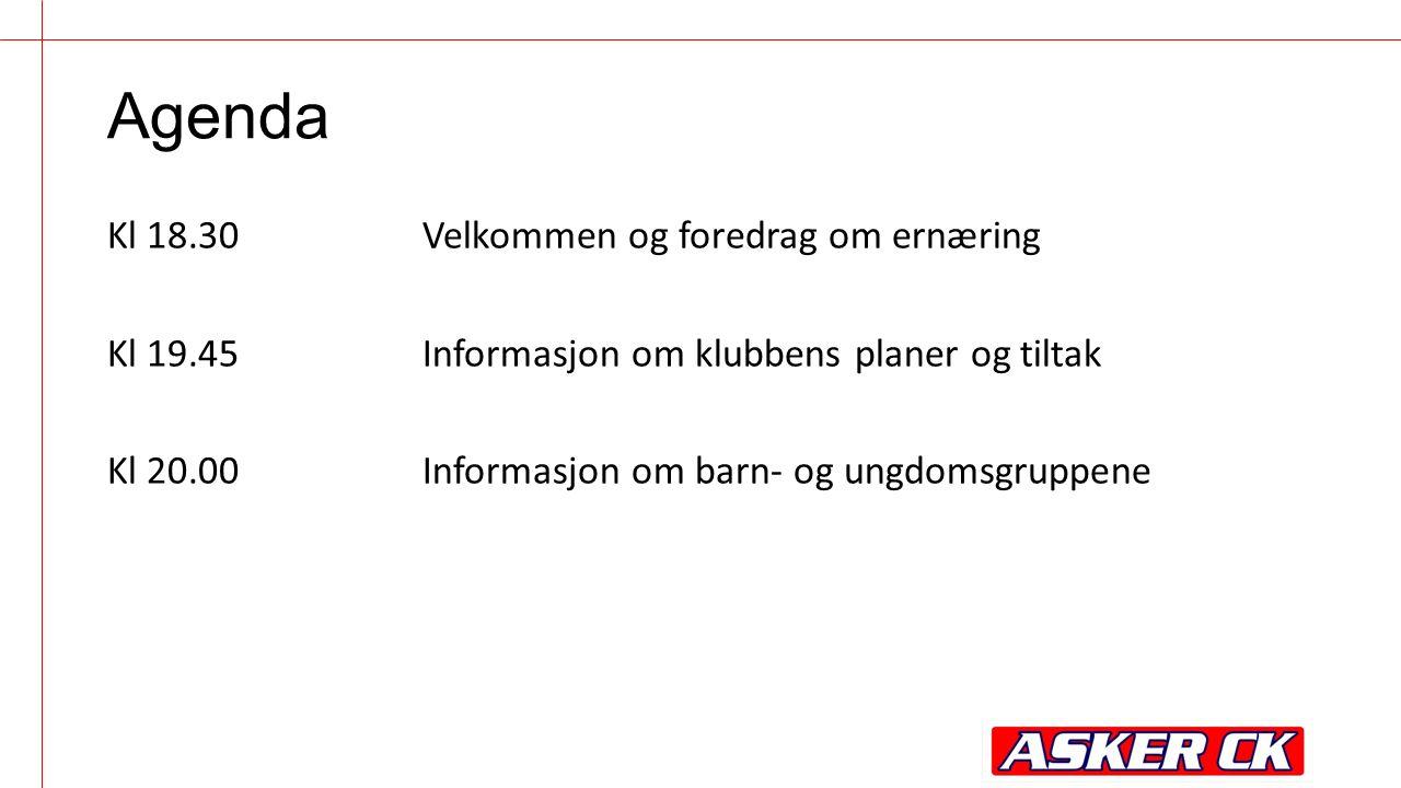 Agenda Kl 18.30Velkommen og foredrag om ernæring Kl 19.45Informasjon om klubbens planer og tiltak Kl 20.00Informasjon om barn- og ungdomsgruppene