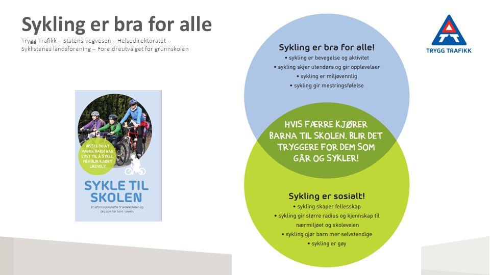 Sykling er bra for alle Trygg Trafikk – Statens vegvesen – Helsedirektoratet – Syklistenes landsforening – Foreldreutvalget for grunnskolen