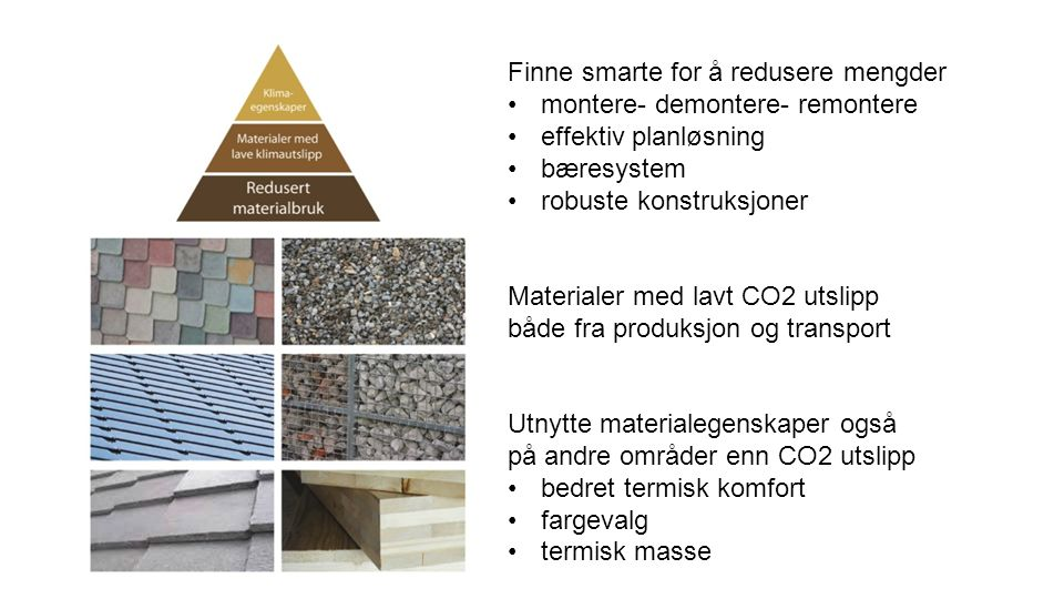 Finne smarte for å redusere mengder montere- demontere- remontere effektiv planløsning bæresystem robuste konstruksjoner Materialer med lavt CO2 utslipp både fra produksjon og transport Utnytte materialegenskaper også på andre områder enn CO2 utslipp bedret termisk komfort fargevalg termisk masse