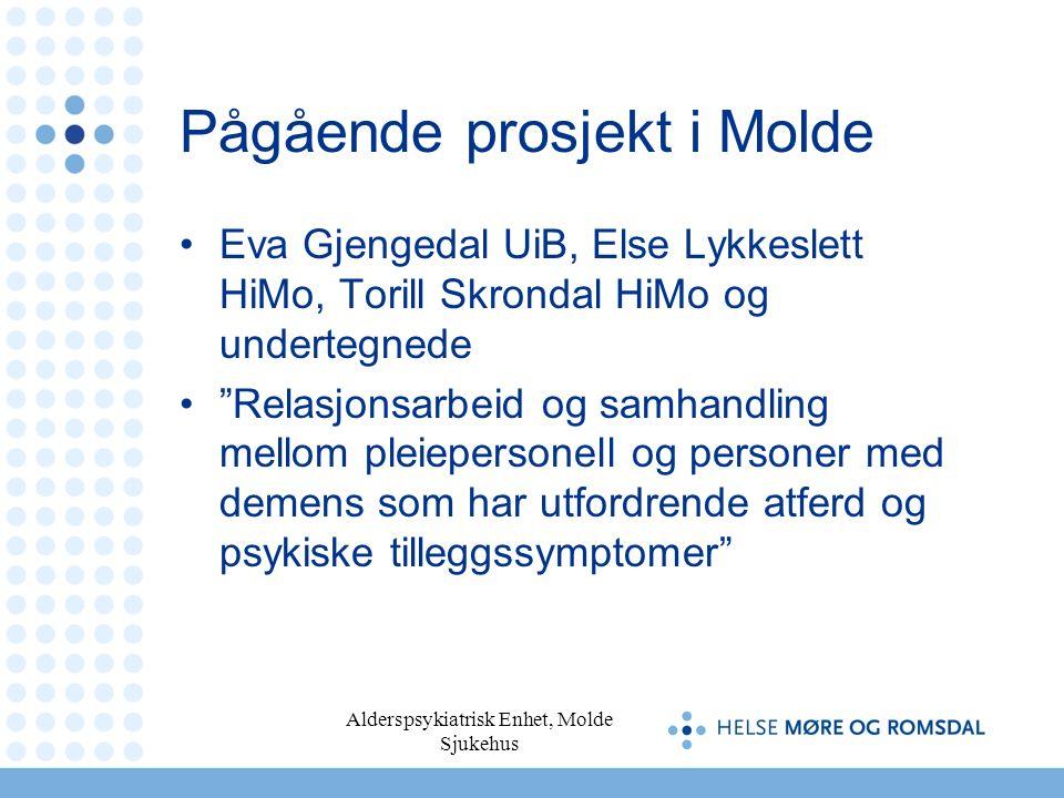 """Alderspsykiatrisk Enhet, Molde Sjukehus Pågående prosjekt i Molde Eva Gjengedal UiB, Else Lykkeslett HiMo, Torill Skrondal HiMo og undertegnede """"Relas"""