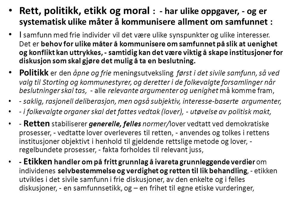 Rett, politikk, etikk og moral : - har ulike oppgaver, - og er systematisk ulike måter å kommunisere allment om samfunnet : I samfunn med frie individer vil det være ulike synspunkter og ulike interesser.