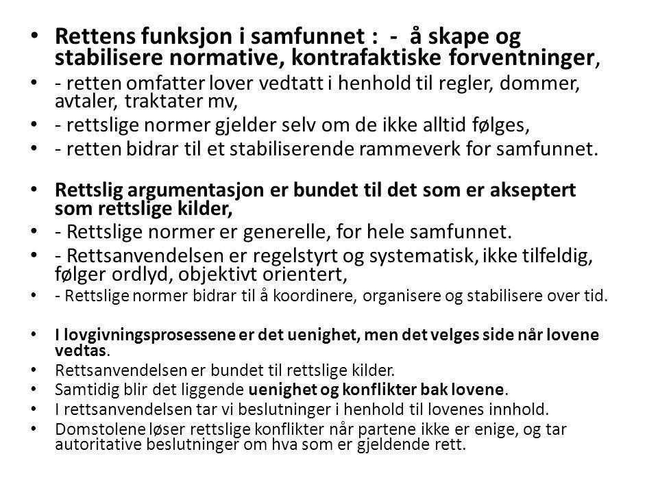 Endringer i forholdet mellom rett og politikk når retten europeiseres og internasjonaliseres : - et nytt element i de politiske lovgivningsprosessene er det forhold at Norge har omfattende internasjonale forpliktelser som må overholdes, - særlig EØS-avtalen, EMK og FNs menneskerettighetskonvensjoner, - det er en del av lovgivningprosessene å avdekke disse forpliktelsene, - og her må det politiske system ofte ha juridisk hjelp for å få tilstrekkelig klarhet, - eks: utlendingsloven, regler om hvem som har krav på politisk asyl, - flyseteavgiften, - noen politikere mener at dette er en rettsliggjøring av politikken, - internasjonale rettslige forpliktelser kan innebære rettslige skranker for politisk lovgivning, - domstoler som EMD, EFTA-domstolen, CJEU, og organer som ESA kontrollerer Norges forpliktelser,