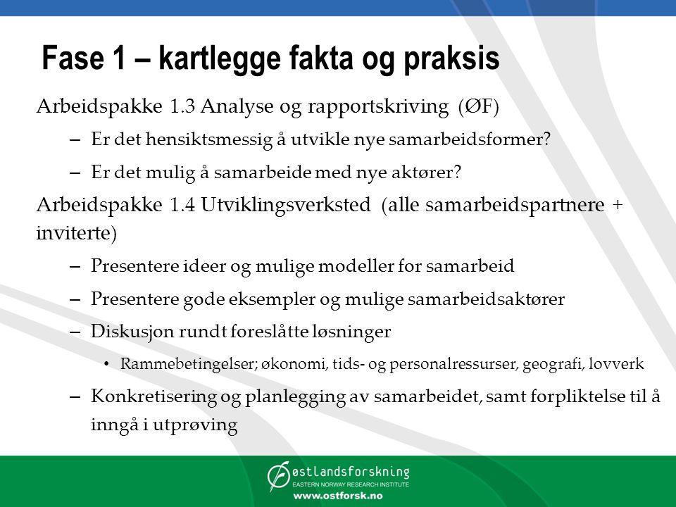 Fase 1 – kartlegge fakta og praksis Arbeidspakke 1.3 Analyse og rapportskriving (ØF) – Er det hensiktsmessig å utvikle nye samarbeidsformer.