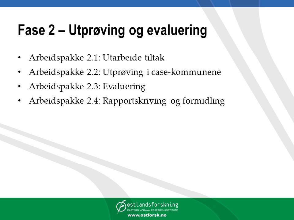 Fase 2 – Utprøving og evaluering Arbeidspakke 2.1: Utarbeide tiltak Arbeidspakke 2.2: Utprøving i case-kommunene Arbeidspakke 2.3: Evaluering Arbeidspakke 2.4: Rapportskriving og formidling