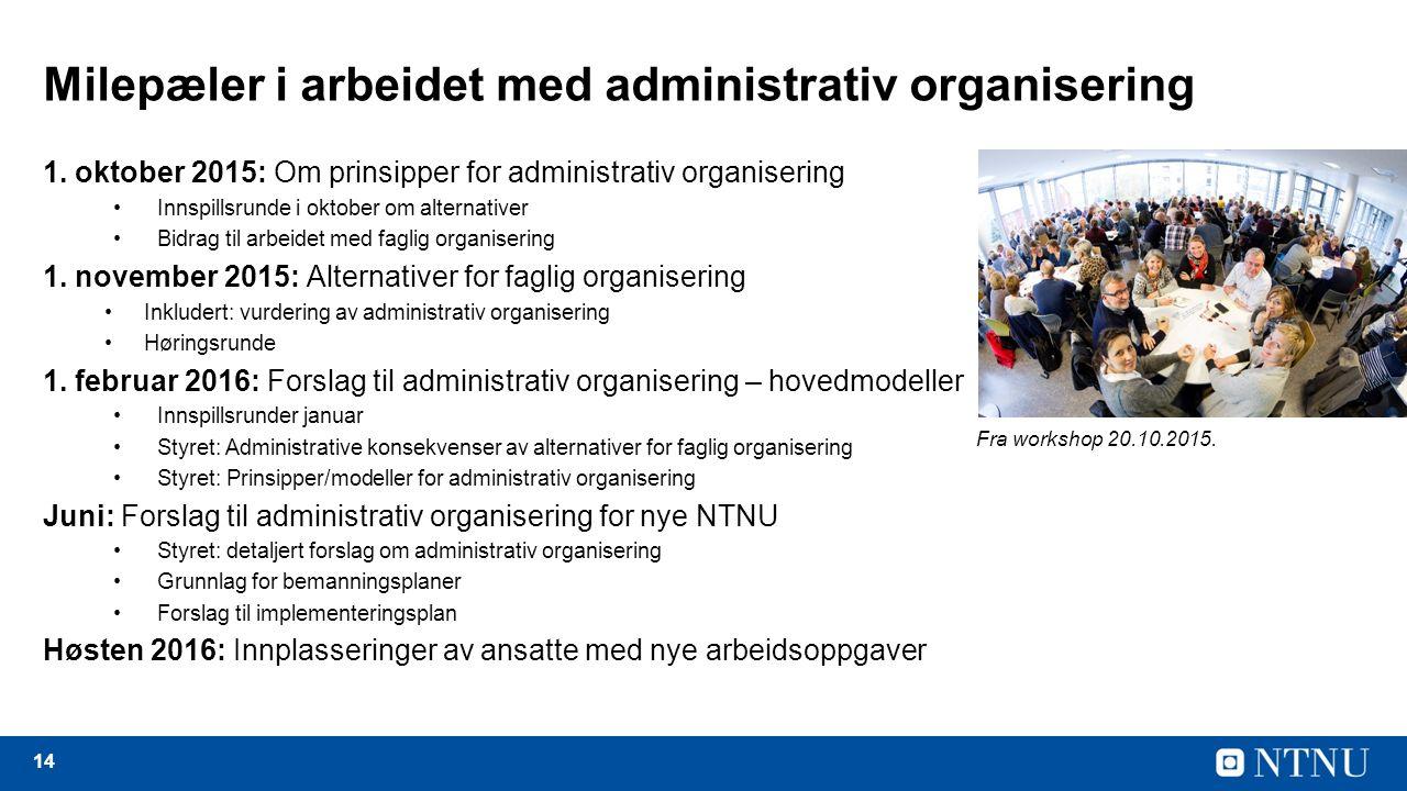 14 Milepæler i arbeidet med administrativ organisering 1.