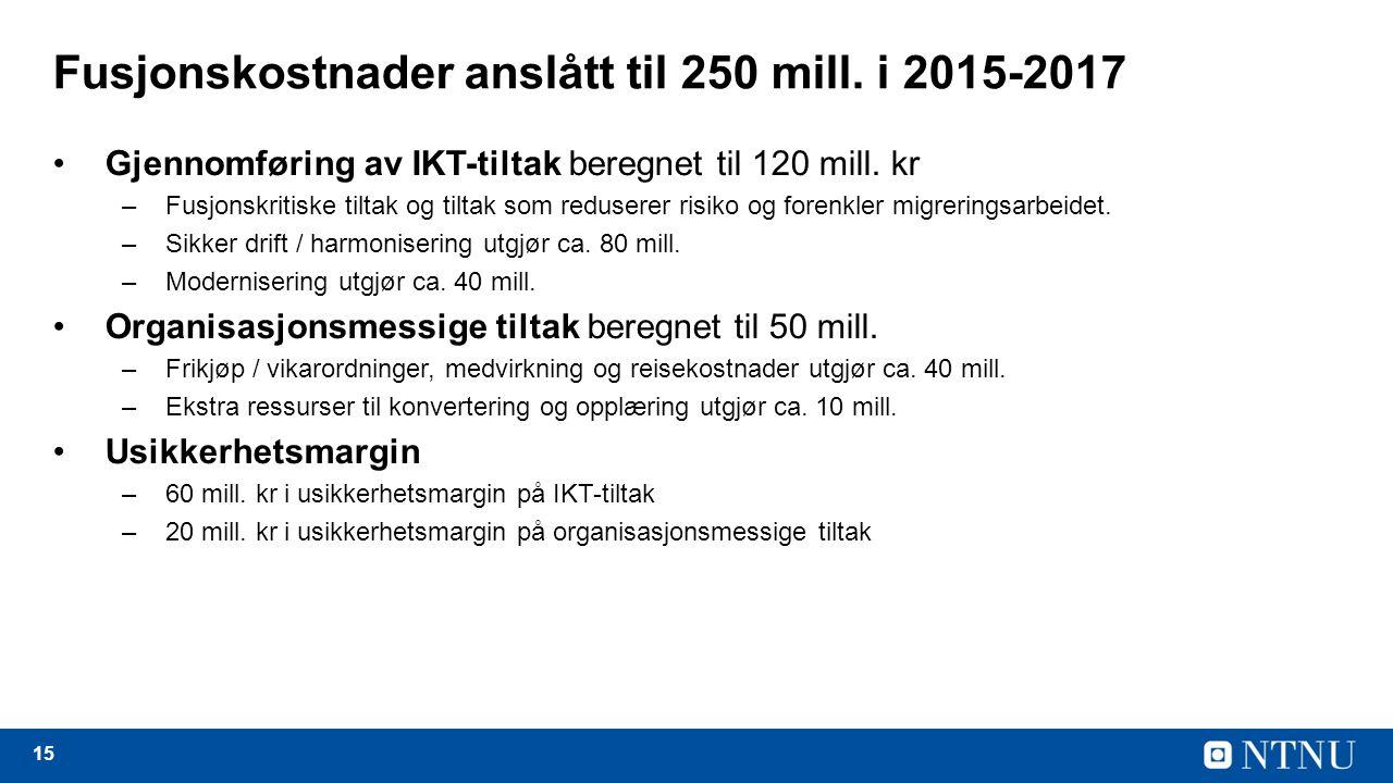15 Fusjonskostnader anslått til 250 mill.