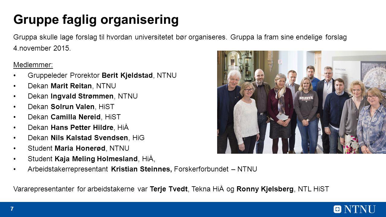 7 Gruppe faglig organisering Gruppa skulle lage forslag til hvordan universitetet bør organiseres.