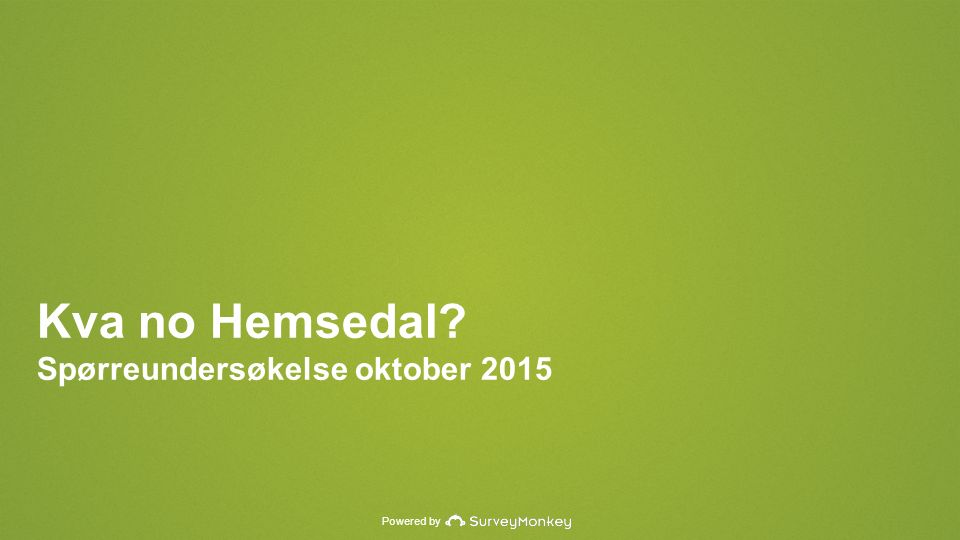 Powered by Kva no Hemsedal Spørreundersøkelse oktober 2015