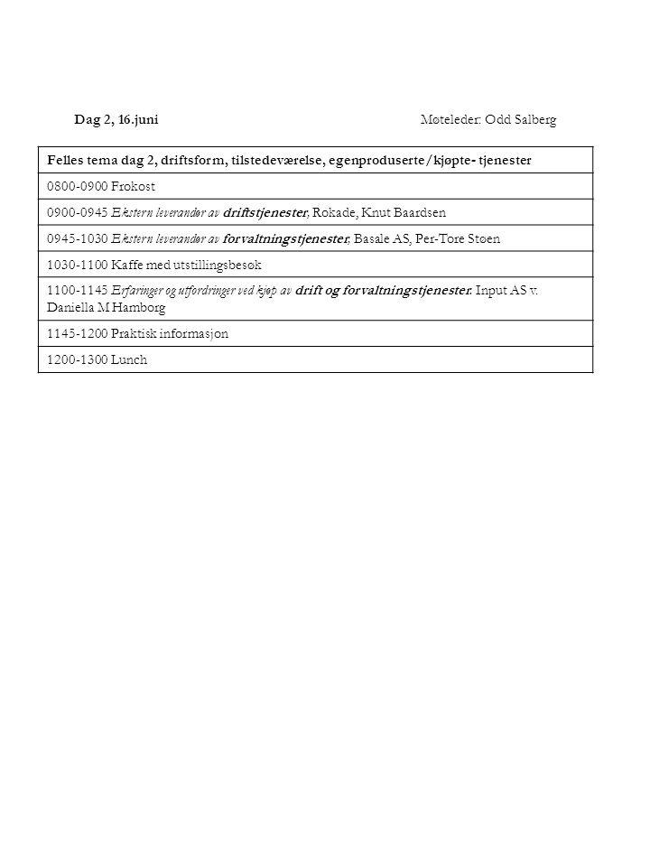 Dag 2, 16.juniMøteleder: Odd Salberg Felles tema dag 2, driftsform, tilstedeværelse, egenproduserte/kjøpte- tjenester 0800-0900 Frokost 0900-0945 Ekst