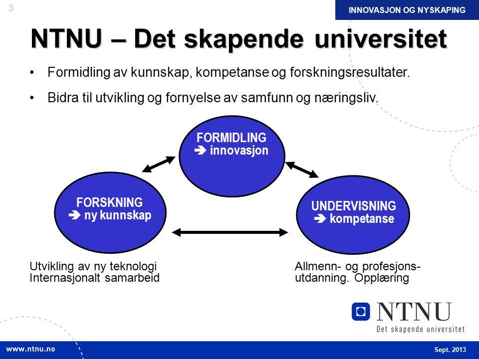 3 INNOVASJON OG NYSKAPING NTNU – Det skapende universitet Formidling av kunnskap, kompetanse og forskningsresultater.