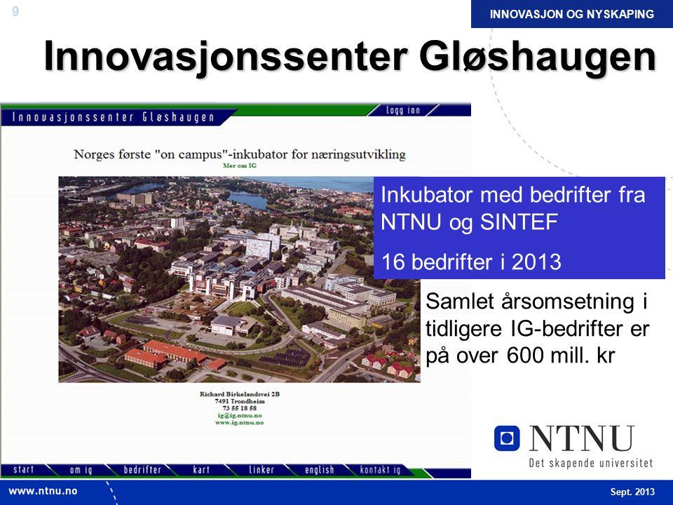 9 Innovasjonssenter Gløshaugen Inkubator med bedrifter fra NTNU og SINTEF 16 bedrifter i 2013 INNOVASJON OG NYSKAPING Sept.