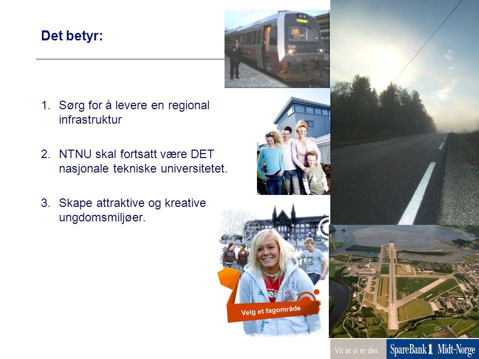Det betyr: 1.Sørg for å levere en regional infrastruktur 2.NTNU skal fortsatt være DET nasjonale tekniske universitetet.