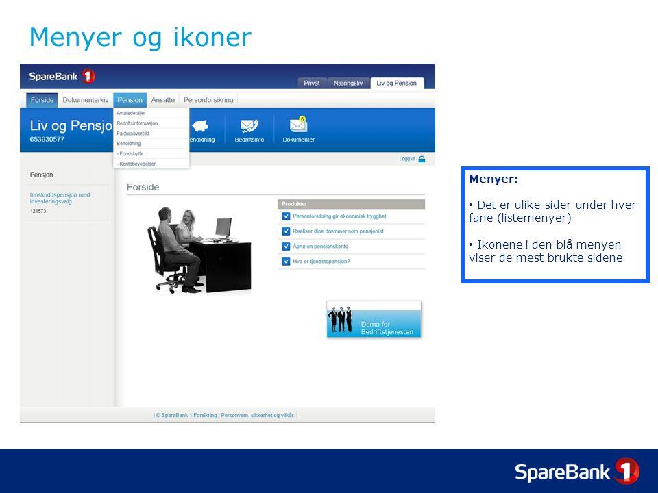 Menyer og ikoner Menyer: Det er ulike sider under hver fane (listemenyer) Ikonene i den blå menyen viser de mest brukte sidene