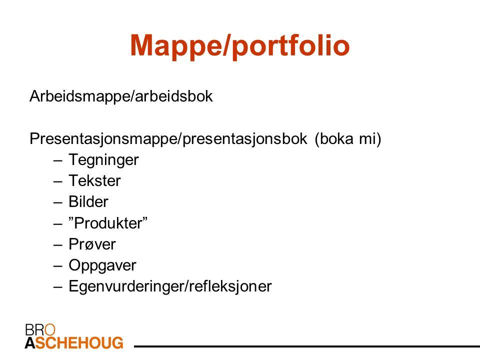 Mappe/portfolio Arbeidsmappe/arbeidsbok Presentasjonsmappe/presentasjonsbok (boka mi) –Tegninger –Tekster –Bilder – Produkter –Prøver –Oppgaver –Egenvurderinger/refleksjoner