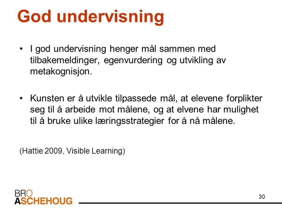 God undervisning I god undervisning henger mål sammen med tilbakemeldinger, egenvurdering og utvikling av metakognisjon.