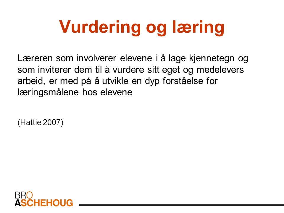 Vurdering og læring Jo tydeligere målet er, jo bedre vil elevene gjøre det (Clarke m.fl 2006)