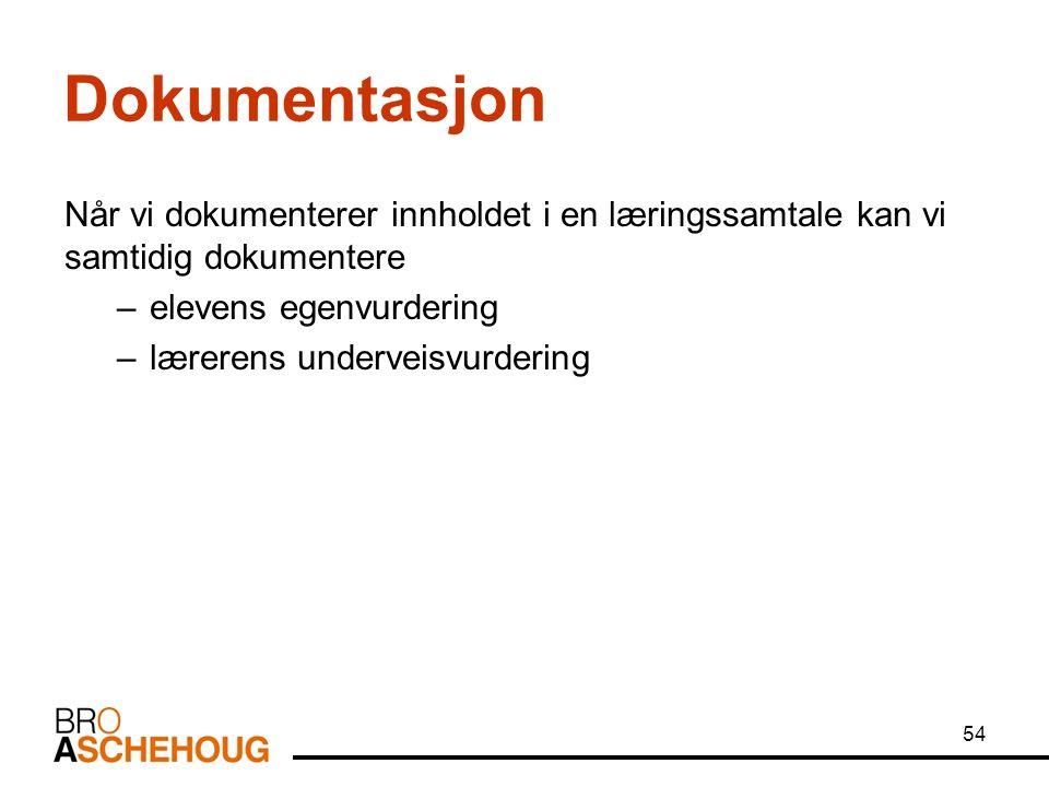 Dokumentasjon Når vi dokumenterer innholdet i en læringssamtale kan vi samtidig dokumentere –elevens egenvurdering –lærerens underveisvurdering 54