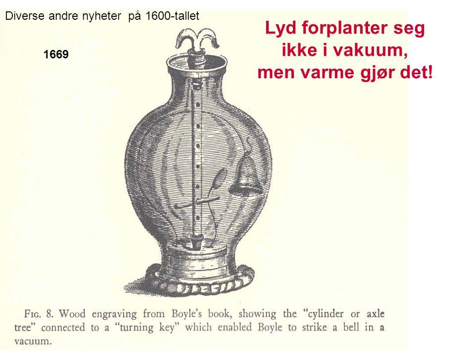 1669 Diverse andre nyheter på 1600-tallet Lyd forplanter seg ikke i vakuum, men varme gjør det!