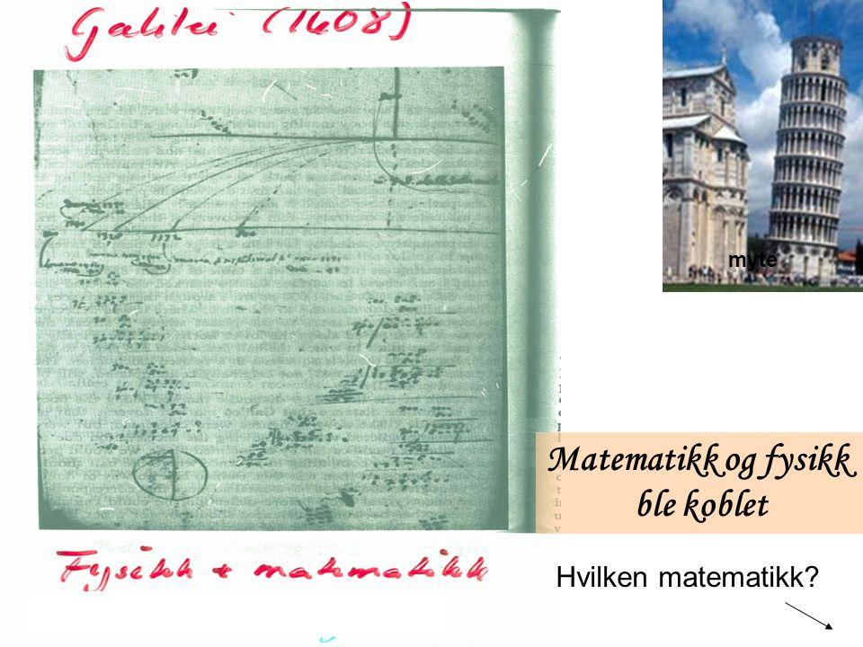 myte Matematikk og fysikk ble koblet Hvilken matematikk