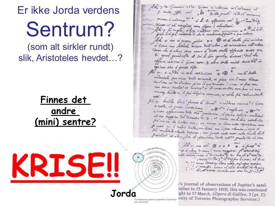 Er ikke Jorda verdens Sentrum. (som alt sirkler rundt) slik, Aristoteles hevdet….