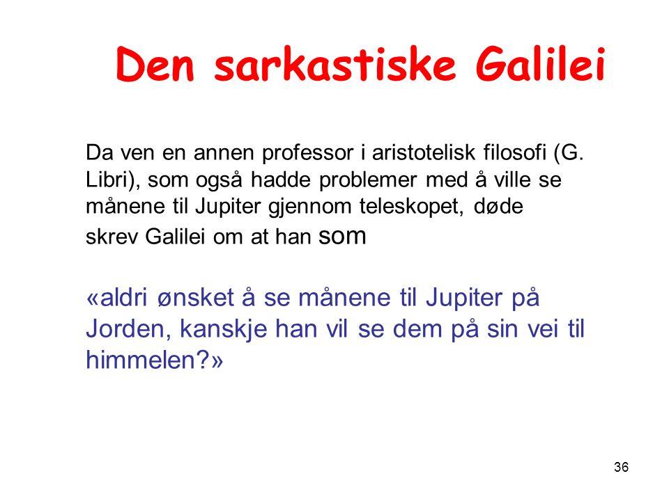 36 Den sarkastiske Galilei Da ven en annen professor i aristotelisk filosofi (G.