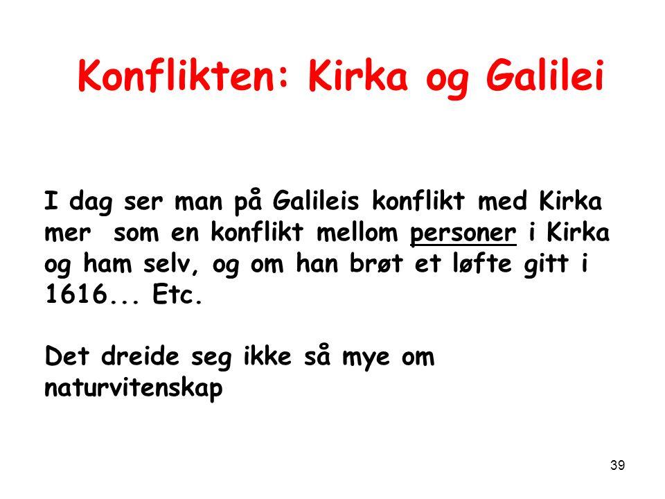 39 I dag ser man på Galileis konflikt med Kirka mer som en konflikt mellom personer i Kirka og ham selv, og om han brøt et løfte gitt i 1616...