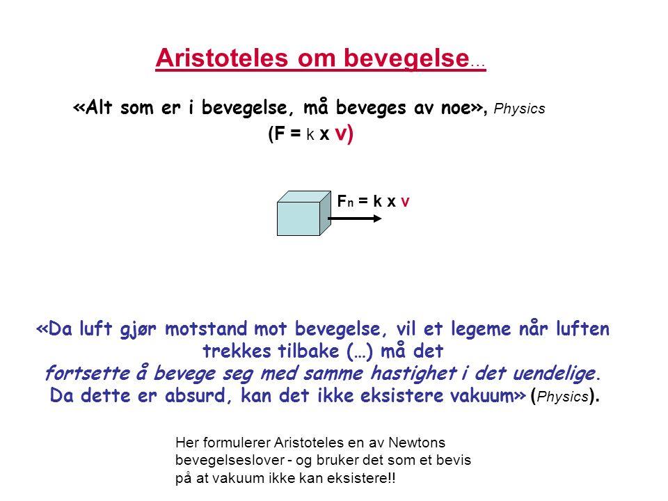 1565-1642 Det endelige oppgjøret med aristotelisk naturfilosofi NB: Avgrenset problemet Stevinius