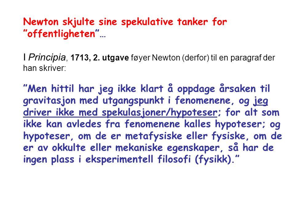 Newton skjulte sine spekulative tanker for offentligheten … I Principia, 1713, 2.