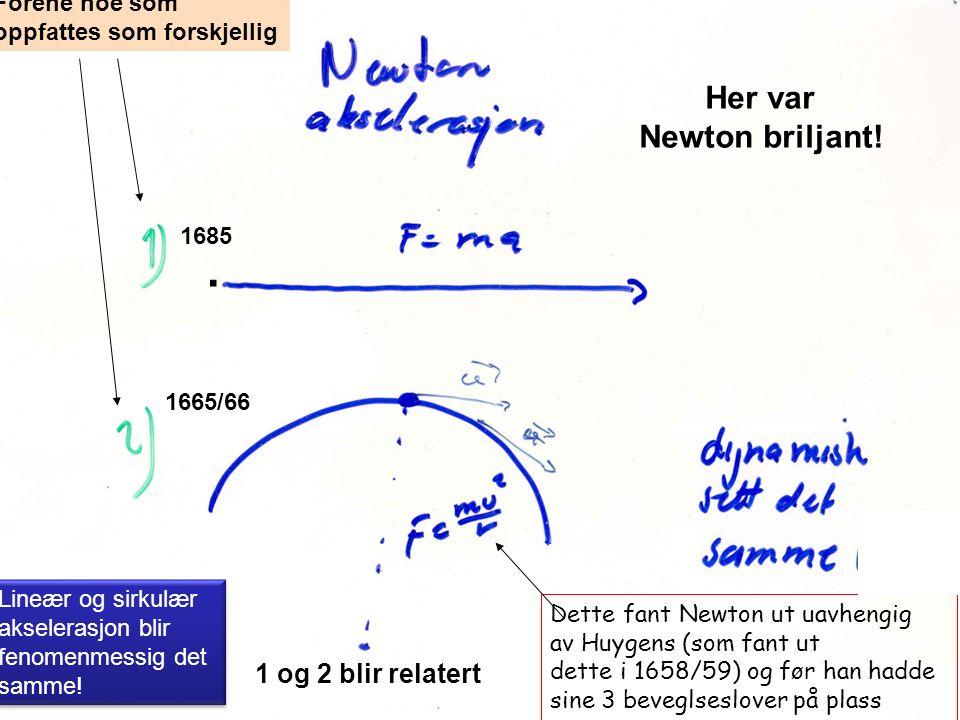 Forene noe som oppfattes som forskjellig 1 og 2 blir relatert Dette fant Newton ut uavhengig av Huygens (som fant ut dette i 1658/59) og før han hadde sine 3 beveglseslover på plass 1665/66 1685 Lineær og sirkulær akselerasjon blir fenomenmessig det samme.