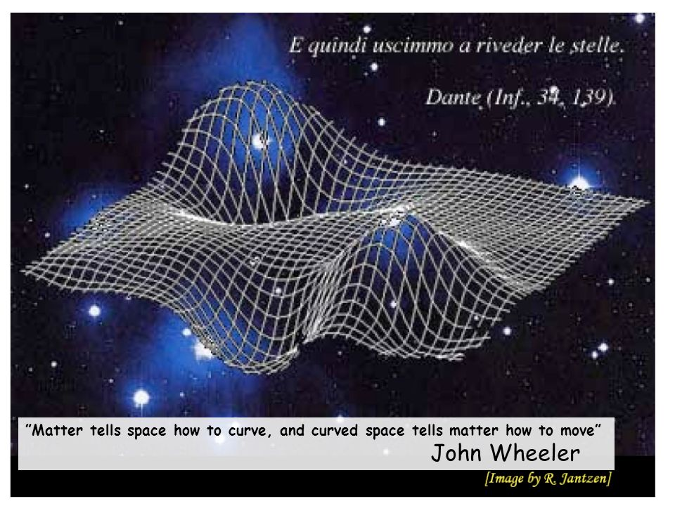 "85 ""Matter tells space how to curve, and curved space tells matter how to move"" John Wheeler"