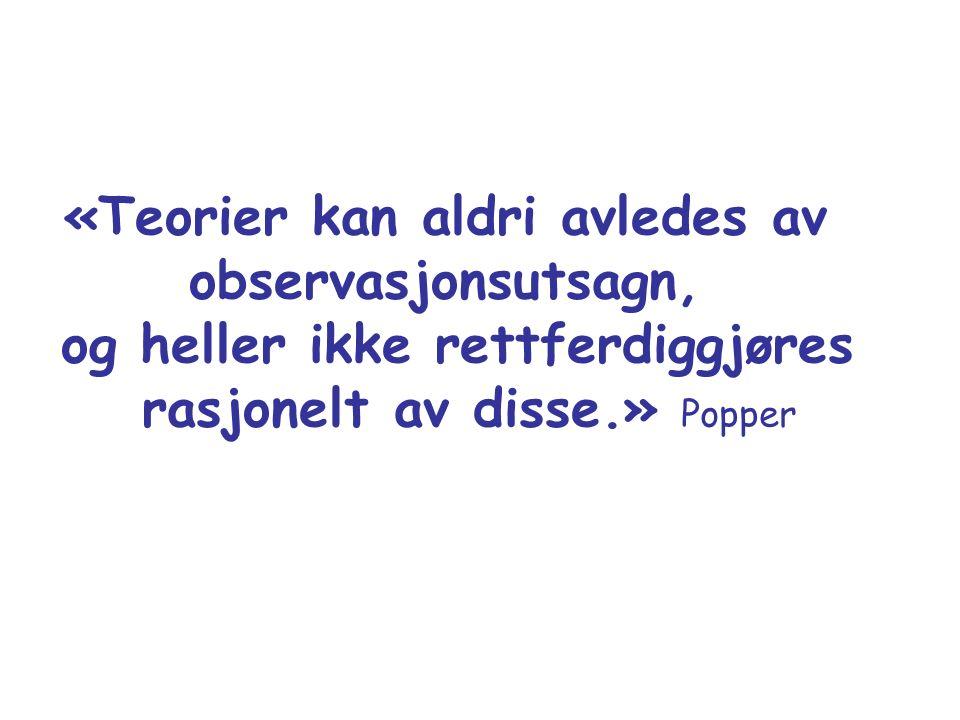 «Teorier kan aldri avledes av observasjonsutsagn, og heller ikke rettferdiggjøres rasjonelt av disse.» Popper