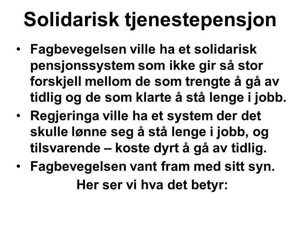 Solidarisk tjenestepensjon Fagbevegelsen ville ha et solidarisk pensjonssystem som ikke gir så stor forskjell mellom de som trengte å gå av tidlig og de som klarte å stå lenge i jobb.