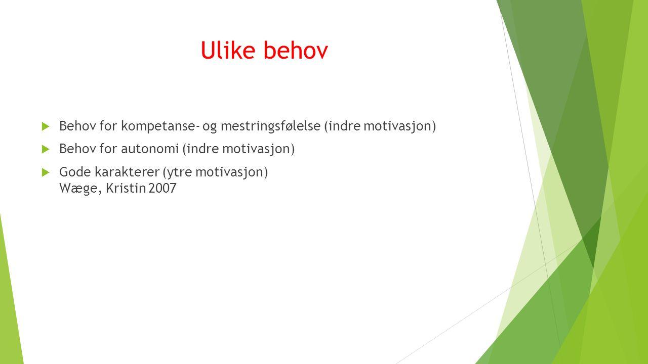 Ulike behov  Behov for kompetanse- og mestringsfølelse (indre motivasjon)  Behov for autonomi (indre motivasjon)  Gode karakterer (ytre motivasjon) Wæge, Kristin 2007