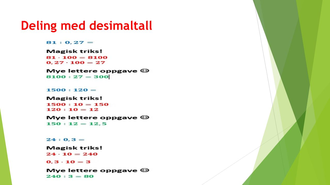 Deling med desimaltall