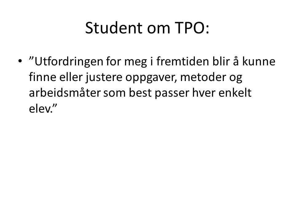 Student om TPO: Utfordringen for meg i fremtiden blir å kunne finne eller justere oppgaver, metoder og arbeidsmåter som best passer hver enkelt elev.