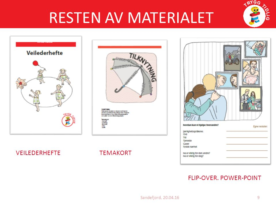 RESTEN AV MATERIALET Sandefjord, 20.04.16 VEILEDERHEFTE TEMAKORT FLIP-OVER. POWER-POINT 9
