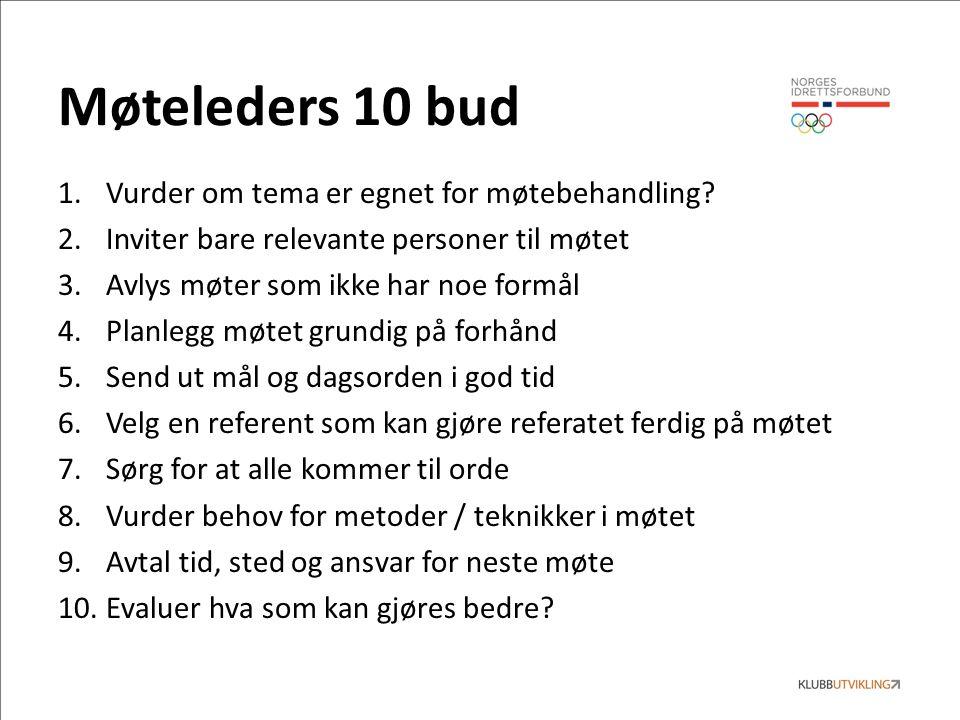 Møteleders 10 bud 1.Vurder om tema er egnet for møtebehandling.