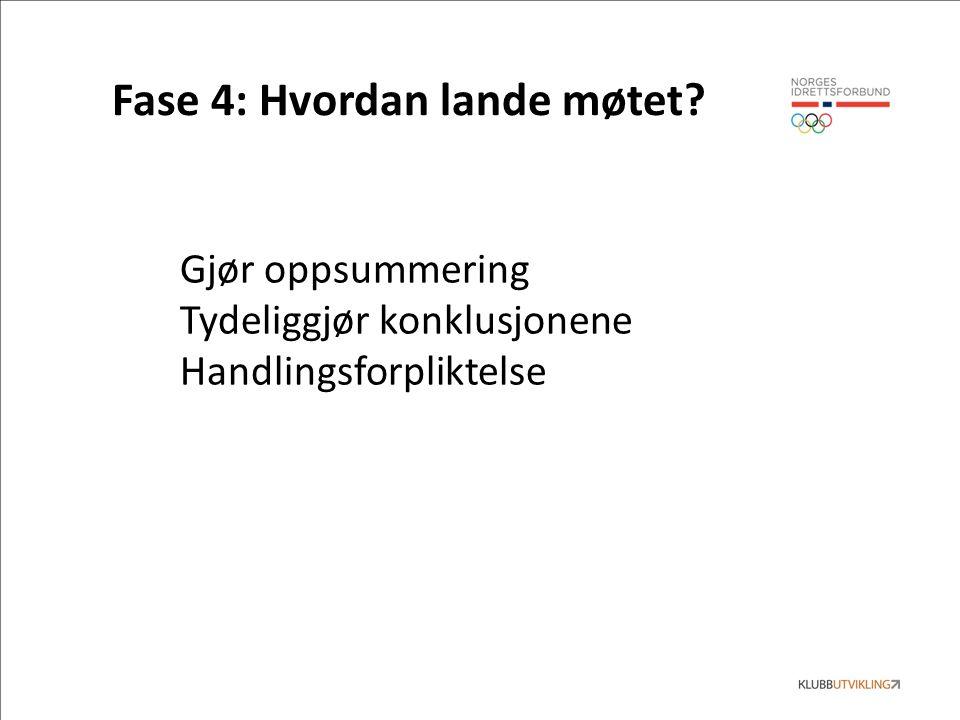 Fase 4: Hvordan lande møtet Gjør oppsummering Tydeliggjør konklusjonene Handlingsforpliktelse