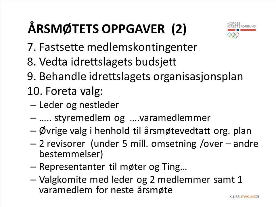 ÅRSMØTETS OPPGAVER (2) 7. Fastsette medlemskontingenter 8.