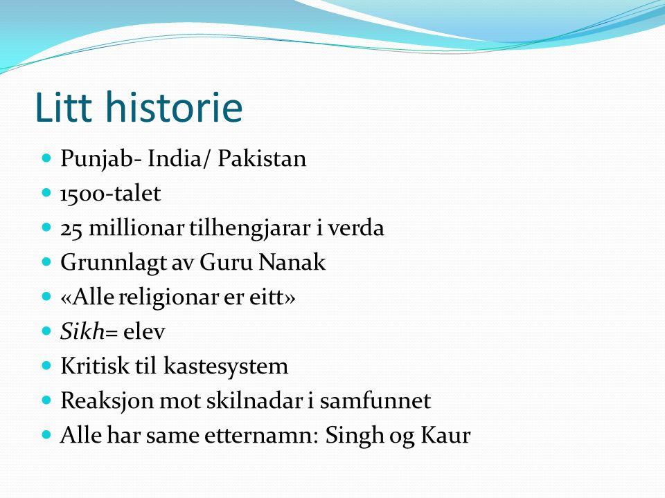 Kva trur dei på.Ni guruar Siste guru  boka Adi Granth Går med kniv Hinduisme + islam = sikhisme?.