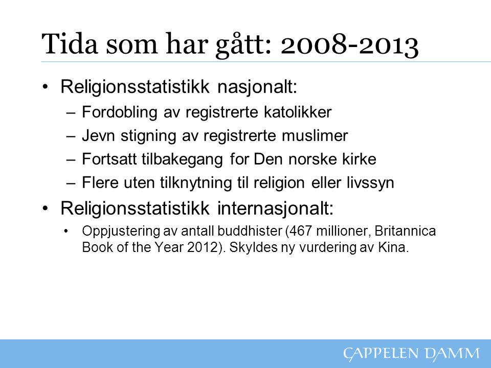 Tida som har gått: 2008-2013 Religionsstatistikk nasjonalt: –Fordobling av registrerte katolikker –Jevn stigning av registrerte muslimer –Fortsatt til