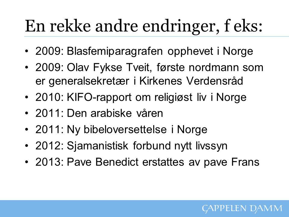 En rekke andre endringer, f eks: 2009: Blasfemiparagrafen opphevet i Norge 2009: Olav Fykse Tveit, første nordmann som er generalsekretær i Kirkenes V