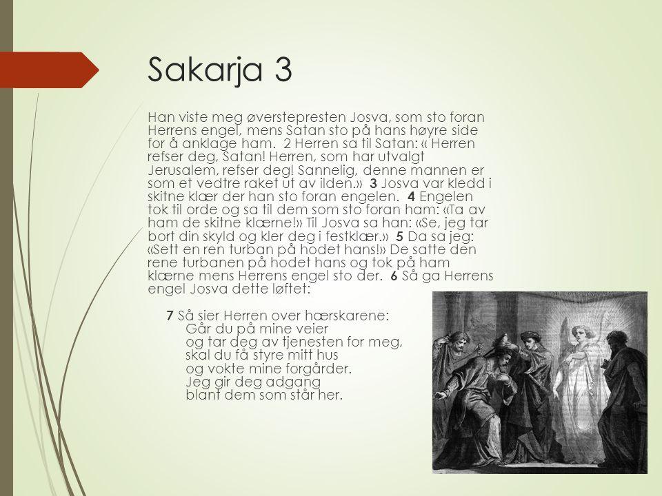 Sakarja 3 Han viste meg øverstepresten Josva, som sto foran Herrens engel, mens Satan sto på hans høyre side for å anklage ham.
