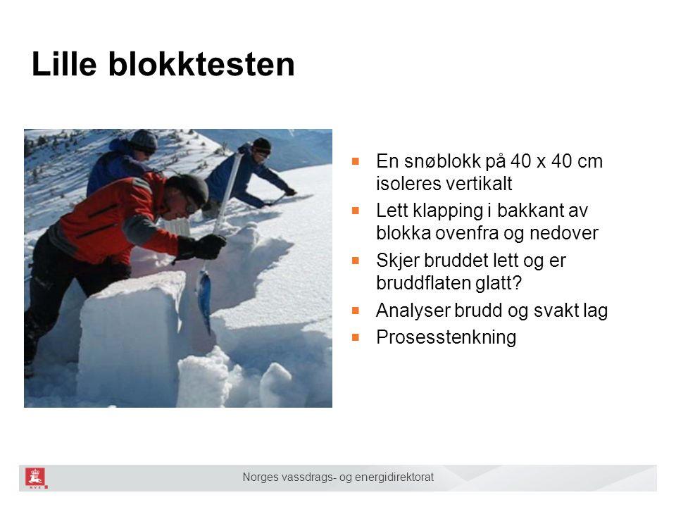 Norges vassdrags- og energidirektorat Lille blokktesten ■ En snøblokk på 40 x 40 cm isoleres vertikalt ■ Lett klapping i bakkant av blokka ovenfra og